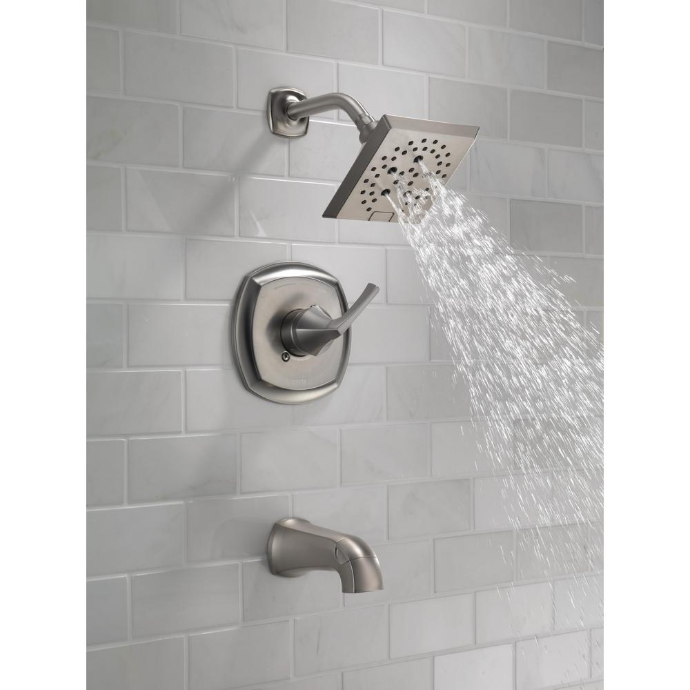 delta portwood 144770 sp single handle 5 spray tub and shower faucet with h2okinetic in spotshield brushed nickel valve included