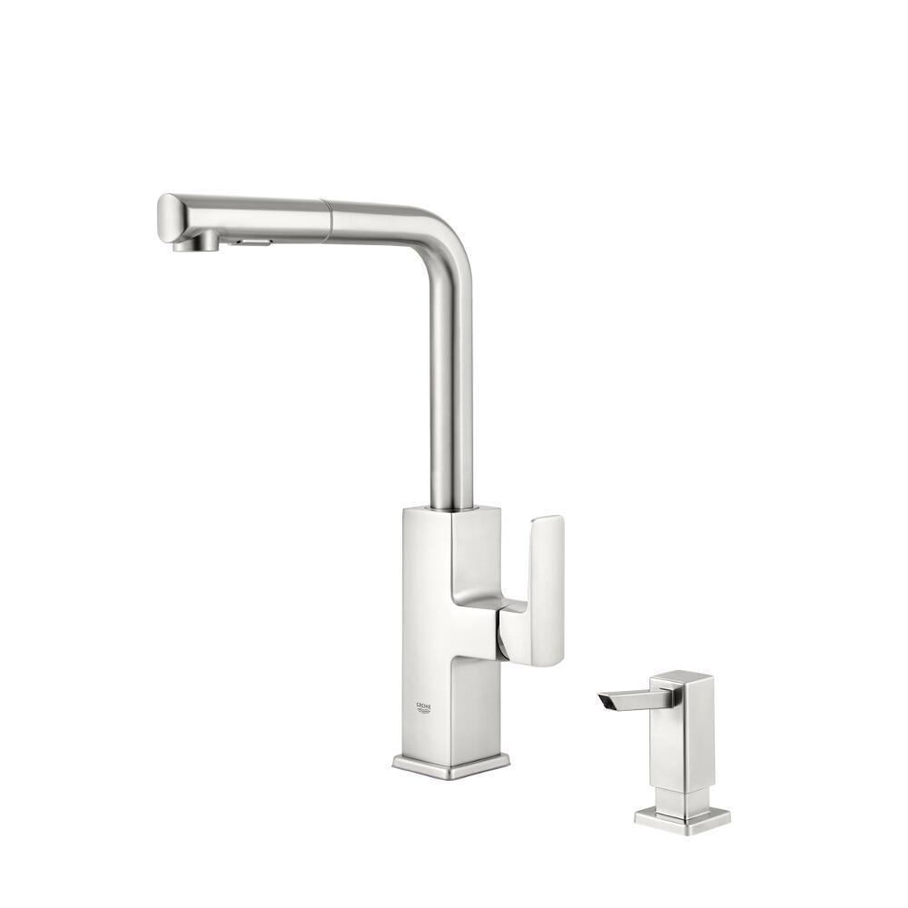 grohe tallinn 30367dc0 single handle pull out sprayer kitchen faucet with soap dispenser in supersteel infinityfinish