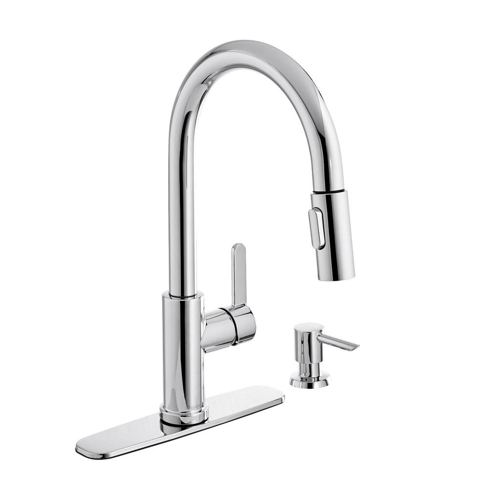 glacier bay paulina 1004 553 869 single handle pull down sprayer kitchen faucet with turbospray and fastmount including soap dispenser in chrome