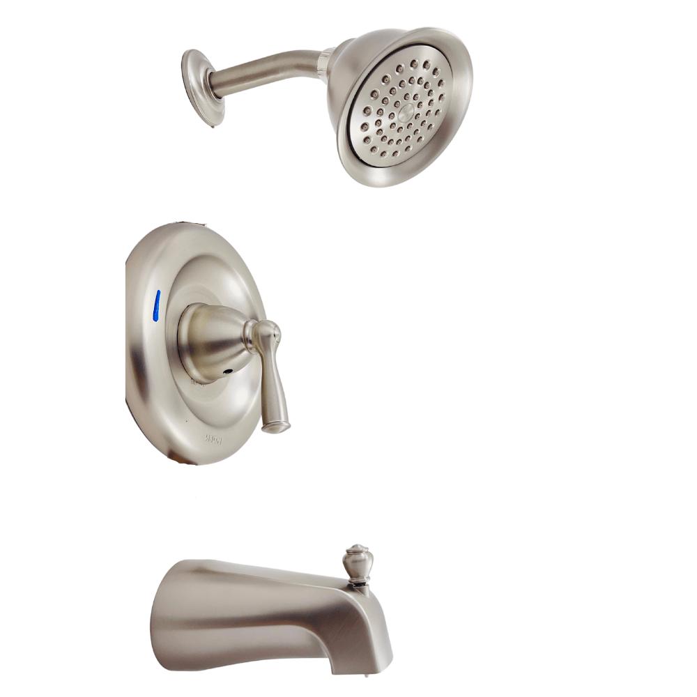 moen banbury 82910srn 1 handle 1 spray tub shower faucet in brushed nickel