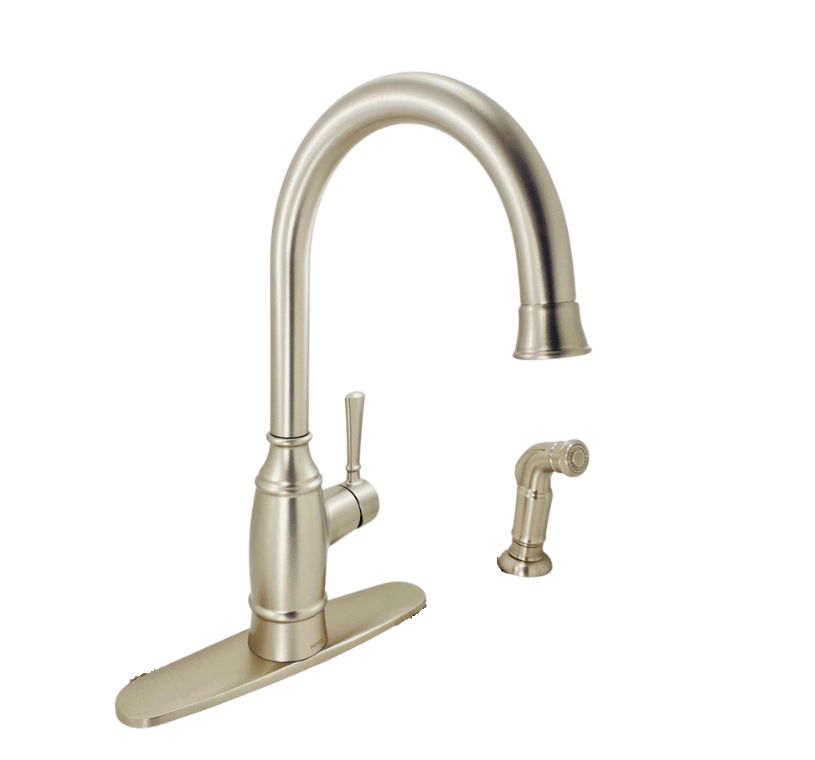 moen noell 87506srs single handle standard kitchen faucet with side sprayer in spot resist stainless