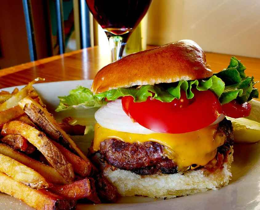 best burger in evanston is at prairie moon restaurant near NU