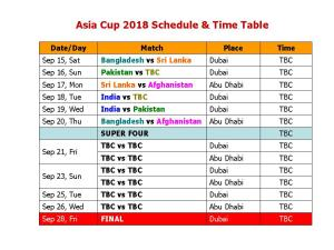 ASIA CUP SHEDULE details