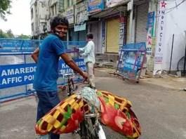 man carry Deadbody on cycle i kamareddy district