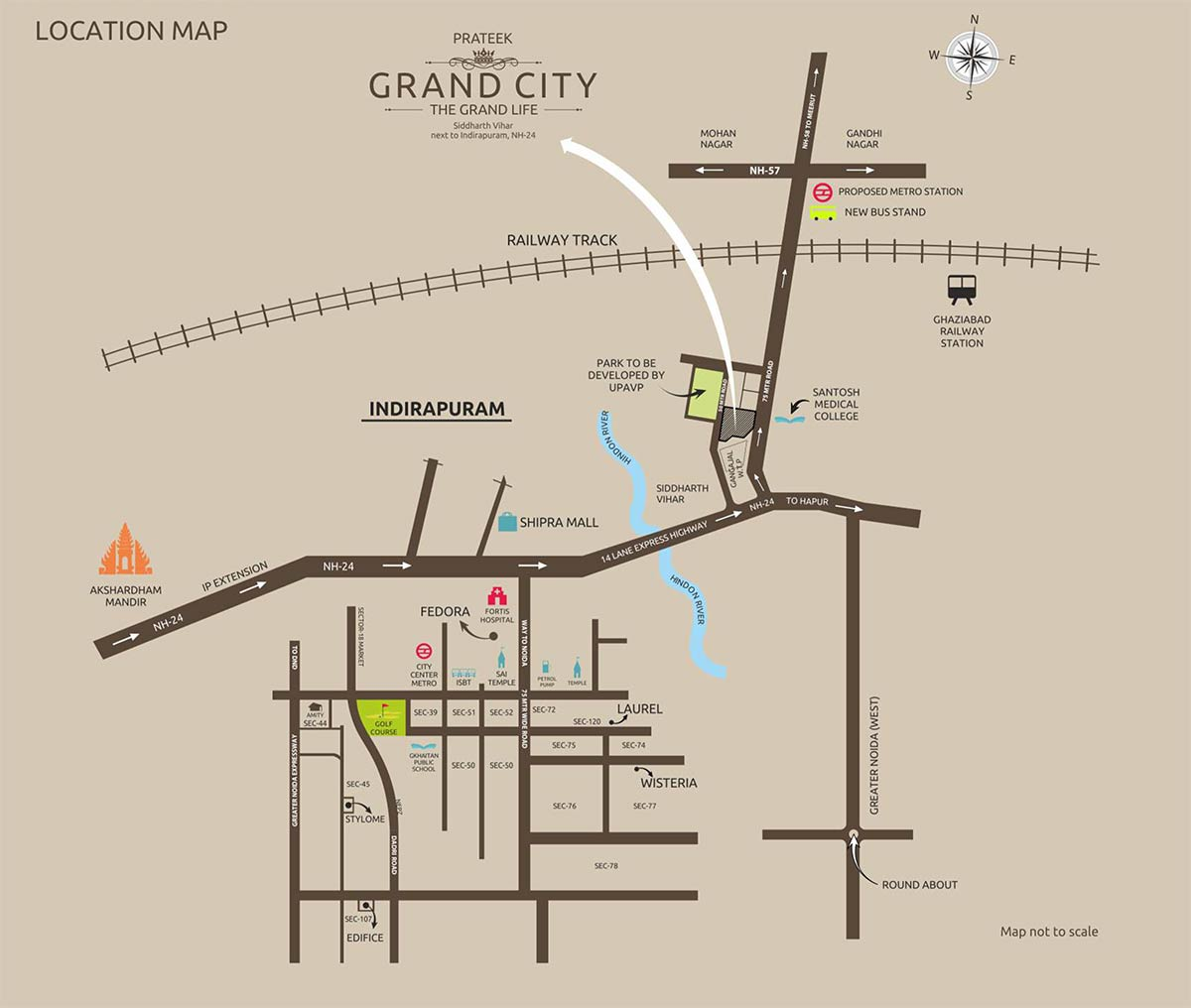 Prateek Grand City Location Map
