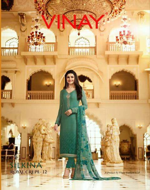 d356e1f631 Vinay Silkina royal crape Vol 12 Catalog party wear crape suits Collection  Wholesale rate - Wholesaler & Exporter of All Brands | Pratham Exports
