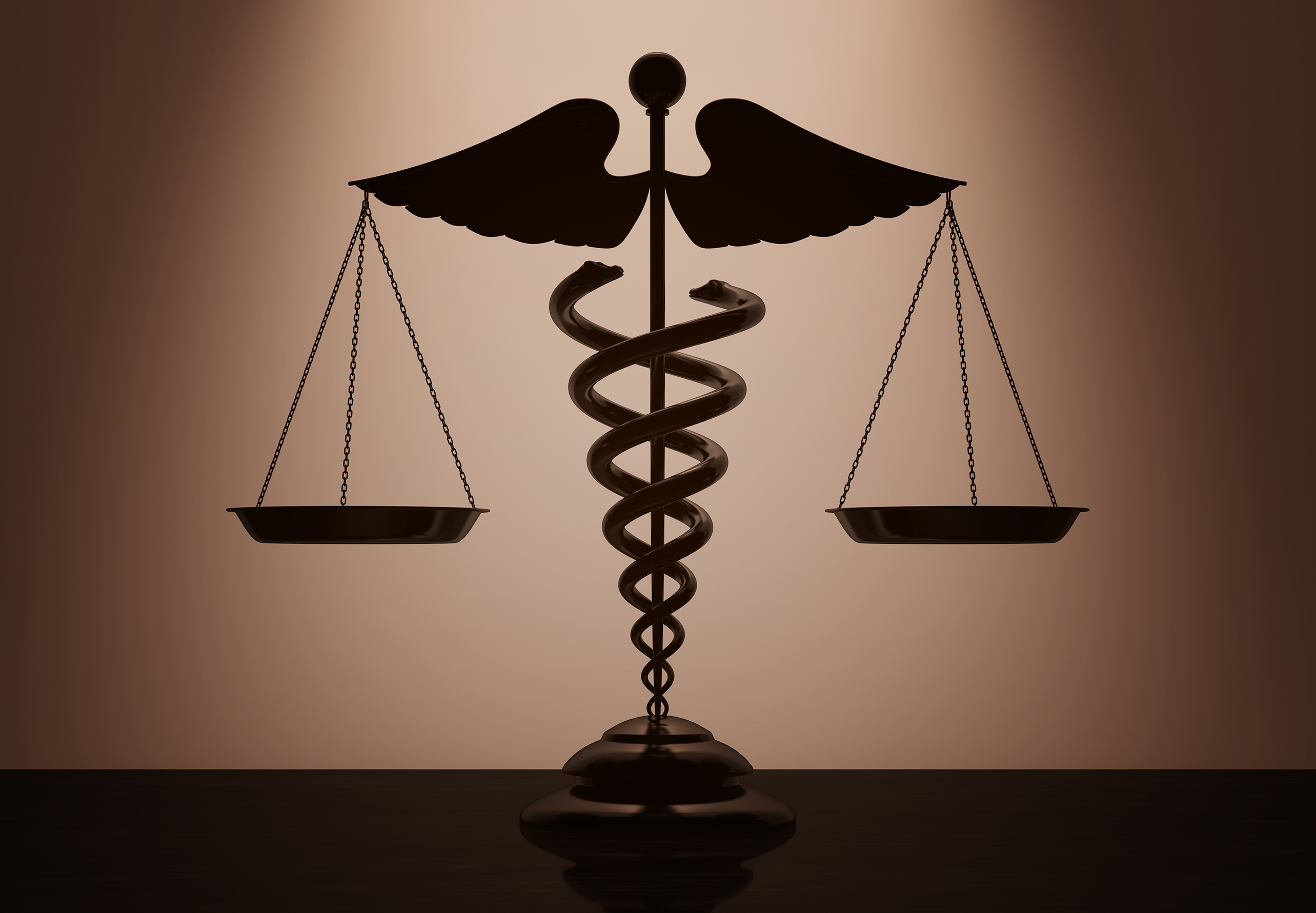 Medical Caduceus Symbol as Scales with backlight over Wall
