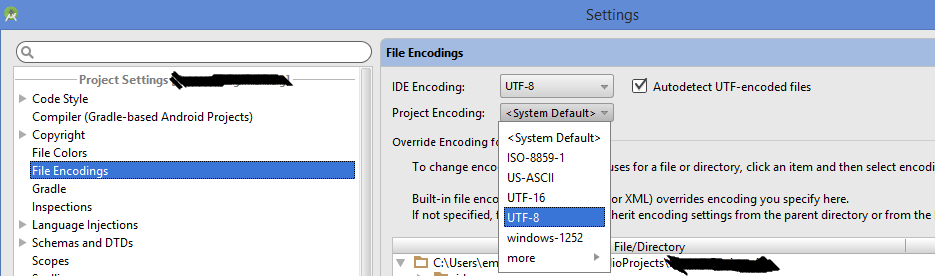 Unmappable character for encoding UTF-8 in Android Studio
