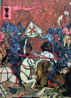 Battle of Crusaders dengan Gusites. Miniatur dari kod Ian. Senarai abad XV dan XVI. (Jenský Kodex / Jena Codex. Praha, Knihovna Národního Muzea. IV B 24. Fol. 56)