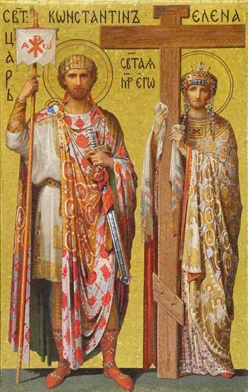 Воздвижение Креста Господня. Равноапостольные Константин и Елена. Мозаика Исаакиевского собора в Санкт-Петербурге