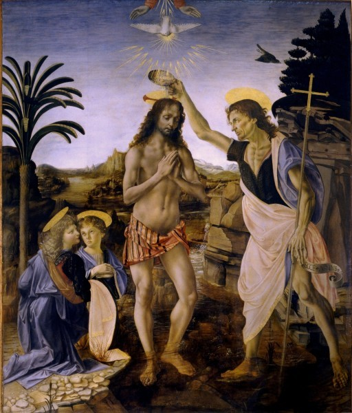 Андреа дель Верроккио, Леонардо да Винчи. 1472 – 1475 г. Галерея Уффици, Флоренция, Италия