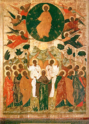 The Lord's Ascension. 1542 Icon from the iconostasis of the New Ascension Church, Pskov. Now in the Novgorod museum.