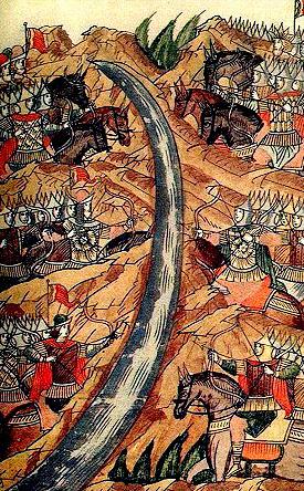 Стояние на Угре. 1480. Миниатюра летописного свода XVI в.