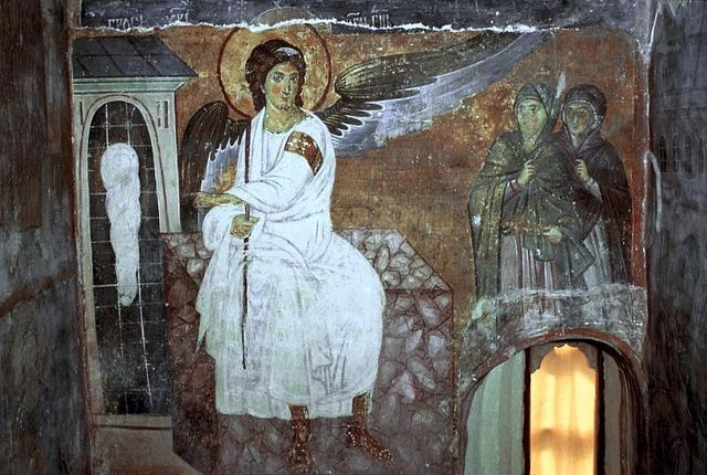 The White Angel by the tomb. 8th century fresco, Serbia.
