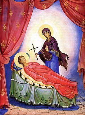 Богородица вручает крест святой Нине