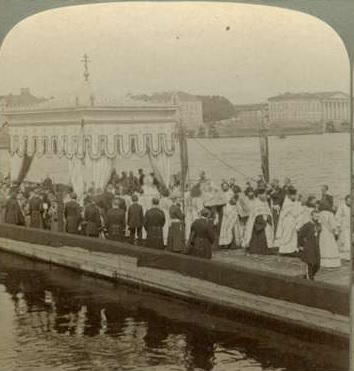 The Great Blessing of the Waters at the Neva River on Theophany, 1905