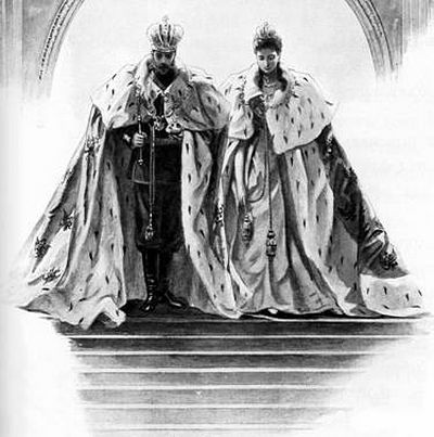 Partners in holy and royal matrimony and equal bearers of the burden of imperial rule, Emperor Nicholas II and Empress Alexandra sketched as they leave the Uspenskiy Sobor in full regalia following their coronation and anointing on 26 May, 1896.