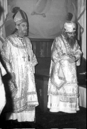 Bishop Jean-Nectaire (Kovalevsky) of Saint-Denis and St. John Maximovitch in 1964