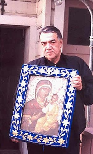 Jose Muсoz-Cortes with Montreal icon of the Holy Virgin