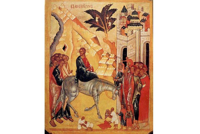 Вход Господень в Иерусалим Новгородская икона