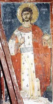 Преподобни Роман Сладкопевец, стенопис от Драгалевския манастир