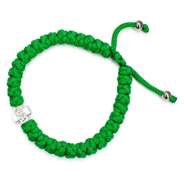 Adjustable green prayer bracelet