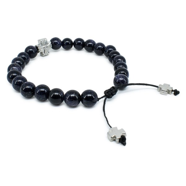 Elegant Sparkling Black GoldStone Prayer Bracelet