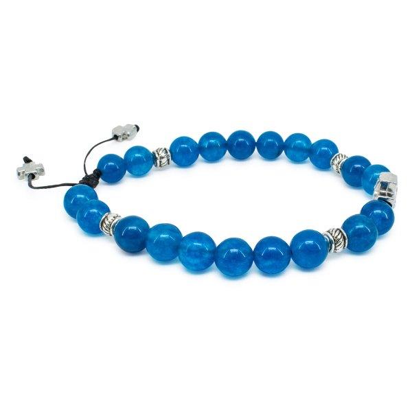 Awesome Blue Jade Stone Prayer Bracelet