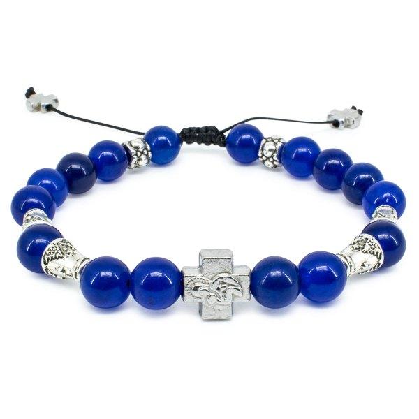 "Dark Blue Jade Stone Prayer Bracelet ""Darkmoon""-0"