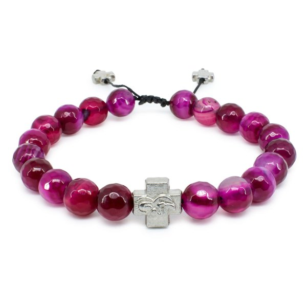 Facetted Cherry Agate Stone Prayer Bracelet-0