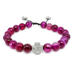 Facetted Cherry Agate Stone Prayer Bracelet-0