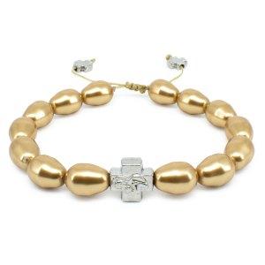Traumhaftes goldfarbiges Swarovski Perlen orthodox Armband