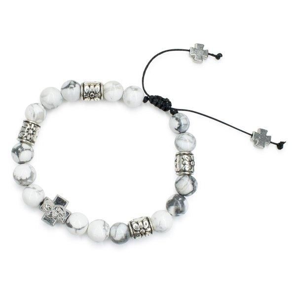 "Howlite Stone Prayer Bracelet ""Twilight"""