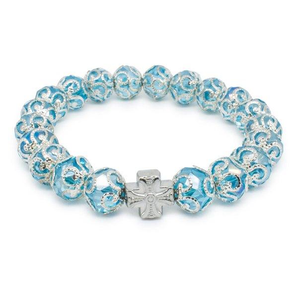 """Auffallendes orthodox Armband aus licht blaue Glasperlen """"Eugenia"""""""