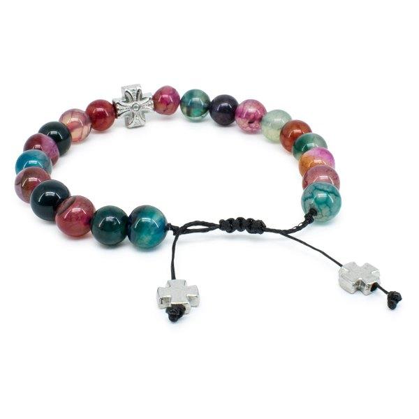 Bezauberndes mehrfarbiges Achatstein orthodox Armband