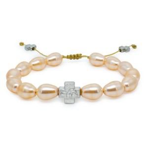 Fantastisches pfirsichfarbiges Swarovski Perlen orthodox Armband (Tropfenförmige Perlen)