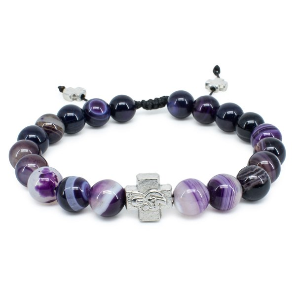 Purple Agate Stone Prayer Bracelet-0