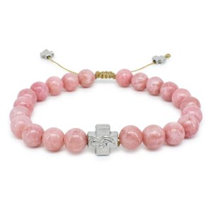 Rose Candy Jade Stone Prayer Bracelet-0