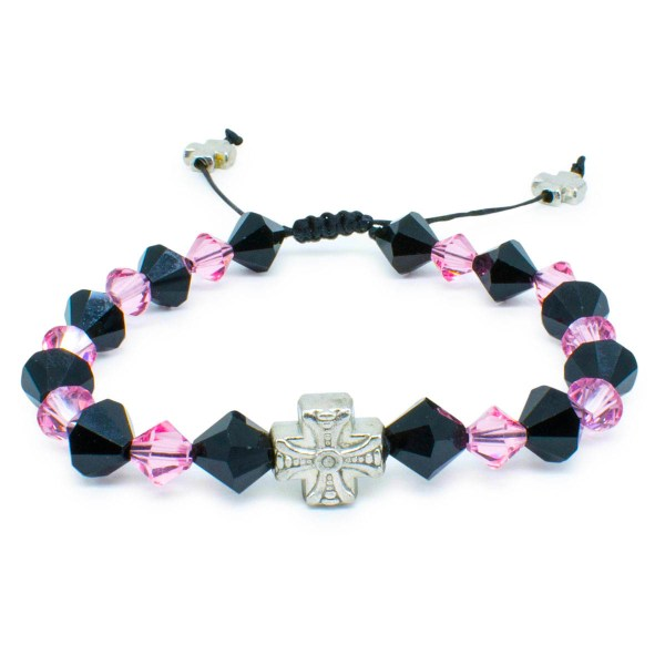 "Swarovski Crystal Prayer Bracelet ""Black Velvet""-446"