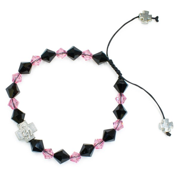"Swarovski Crystal Prayer Bracelet ""Black Velvet""-448"