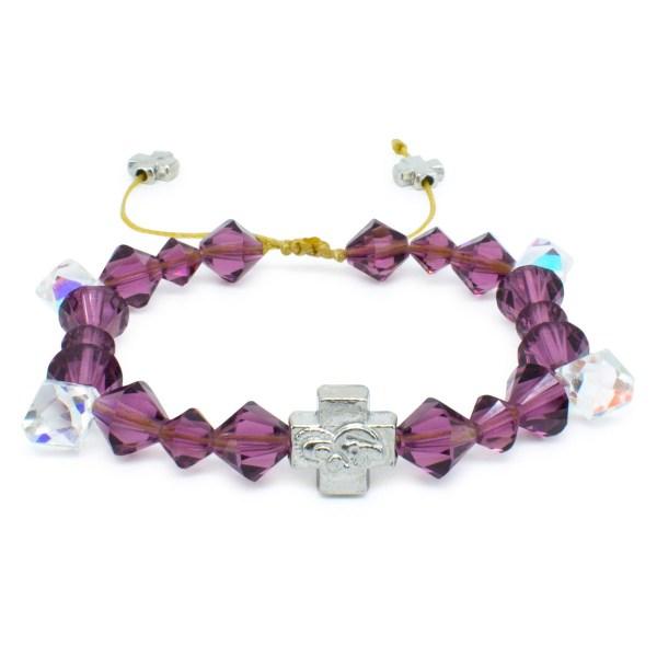 "Swarovski Crystal Prayer Bracelet ""Purple Rain""-0"
