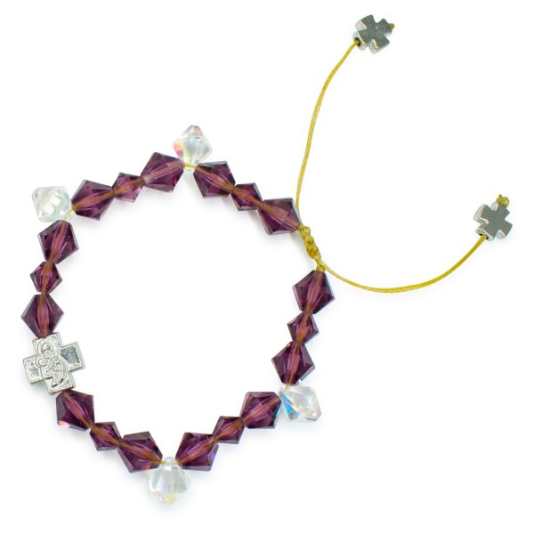 "Swarovski Crystal Prayer Bracelet ""Purple Rain"""