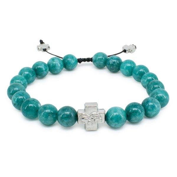 Turquoise Candy Jade Stone Prayer Bracelet-0