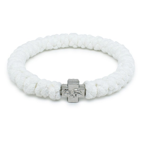 Üppiges Weißes orthodox Knoten Armband