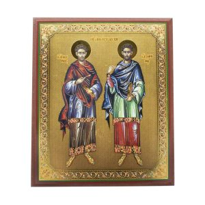 Striking Saint Cosmas and Damian Orthodox Icon