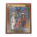 "Wonderful ""The Conversing"" (Besedna) Orthodox Icon. Theotokos, Saint Nicholas and Myra."