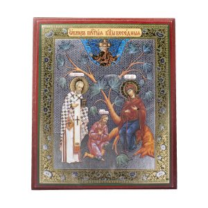 "Wonderful ""The Conversing"" (Besedna) Orthodox Icon. Theotokos, Saint Nicholas and Myra."