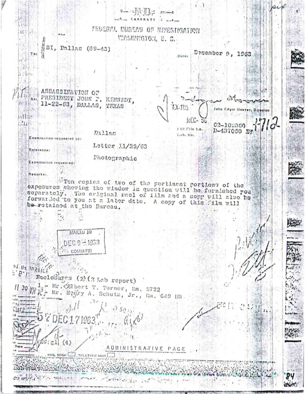 FBI Report stating they can not see any human form in Hughes-1