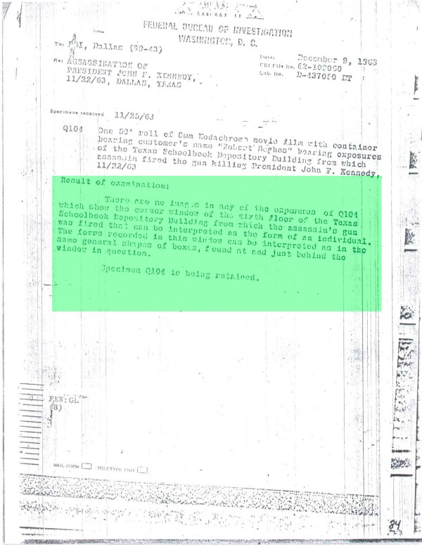 FBI Report stating they can not see any human form in Hughes-2