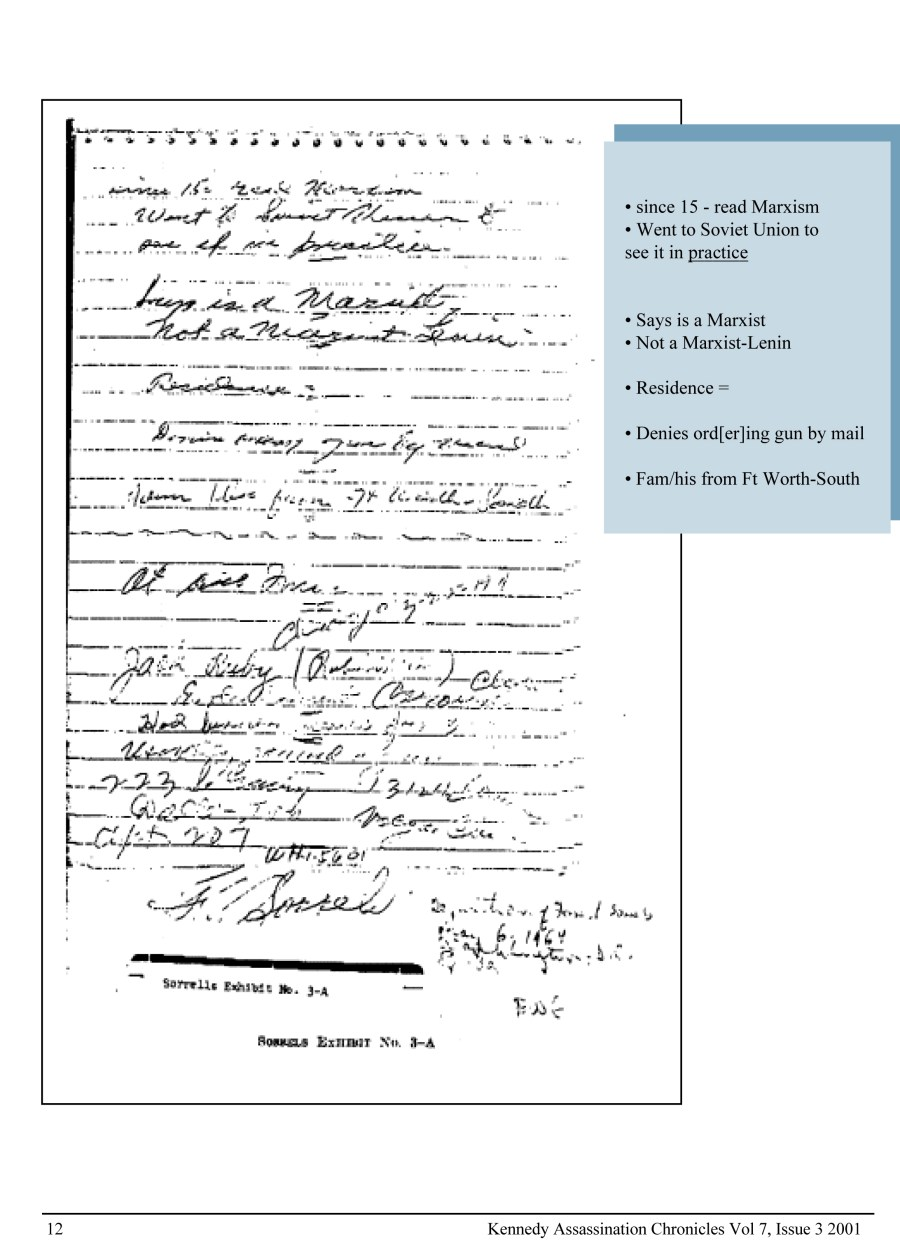 Forrest J Sorrels Oswald interrogation notes